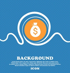 Money bag icon sign Blue and white abstract vector image