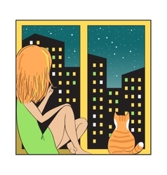 Night city and girl with cat vector image vector image
