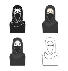 Niqab icon in cartoon style isolated on white vector