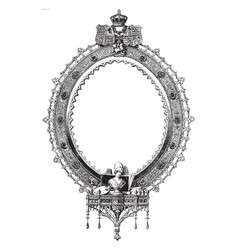 Ornate oval frame is a scrollwork and symbols of vector