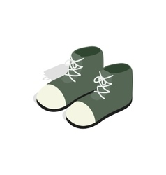 Pair of green boots icon isometric 3d style vector image vector image