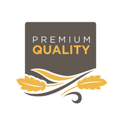 premium quality grain logo with ears of wheat vector image