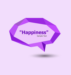 Purple polygonal geometric speech bubble vector