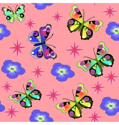 Seamless background with pink butterfly vector