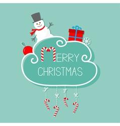Snowman giftbox snowflake ball merry christmas vector