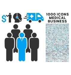Staff Icon with 1000 Medical Business Pictograms vector image vector image