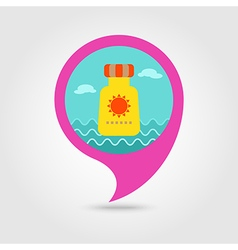 Sunscreen pin map icon Summer Vacation vector image vector image