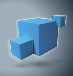 Three 3D cubes logo with aberrations vector image vector image