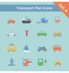 Transportation flat icons set vector