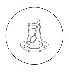 turkish tea icon in outline style isolated on vector image