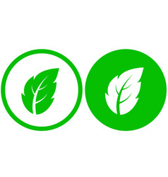 two icons with green leaf vector image vector image