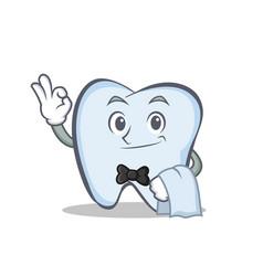 Waiter tooth character cartoon style vector