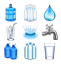 Water drinks icons set vector image vector image