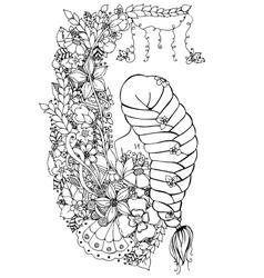 zentangl woman girl in the vector image