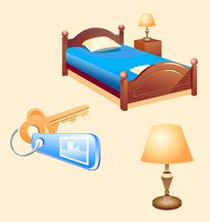 Hotel room furniture vector