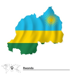 Map of rwanda with flag vector