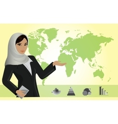 Business woman on background of a map and business vector