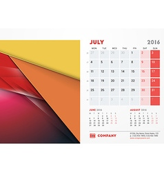 July 2016 desk calendar for 2016 year stationery vector