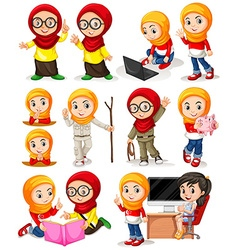 Muslim girl in different actions vector image