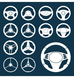 Car steering wheel silhouettes set vector