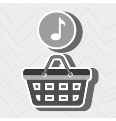 Red basket and music isolated icon design vector
