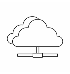 Cloud network connection icon outline style vector