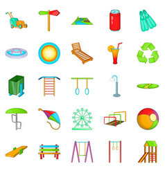 Amusement icons set cartoon style vector