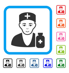 Apothecary doctor framed positive icon vector