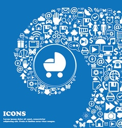 Baby pram icon sign nice set of beautiful icons vector