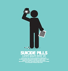 Black symbol suicide pills vector
