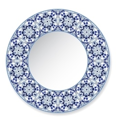 Blue decorative plate with pattern vector