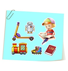 Boy and toys vector image vector image