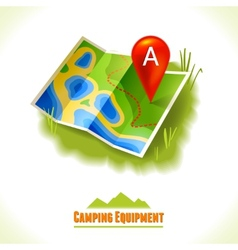 Camping symbol travel map vector