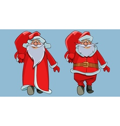 Cartoon father frost and santa claus walking vector
