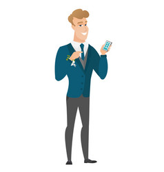 Caucasian groom holding a mobile phone vector