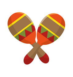 Colorful pair mexican maraca instrument icon vector