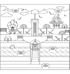 Coloring Page with Beach Lighthouse vector image