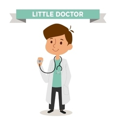 doctor boy with isolated on white background vector image