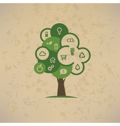 eco tree with enviromental icons set vector image vector image