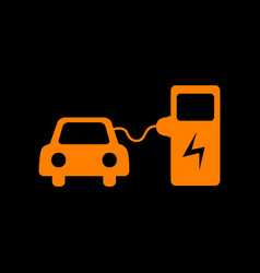 Electric car battery charging sign orange icon on vector