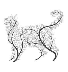 Farm animals stylized bushes housecat vector