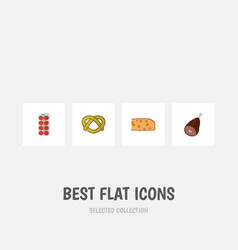 flat icon eating set of tomato cookie cheddar vector image vector image