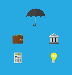 Flat icon incoming set of billfold parasol bubl vector