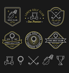 golf logos set sports club linear vector image vector image