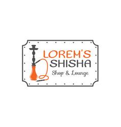 Hookah relax label badge vintage shisha logo vector
