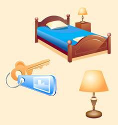 Hotel room furniture vector