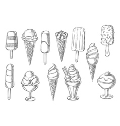 Ice cream desserts sketch icons vector