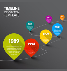 infographic dark timeline template with pointers vector image vector image