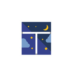 Isolated night sky flat icon frame element vector