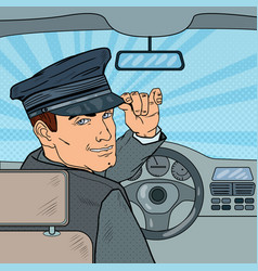limousine driver inside a car pop art vector image vector image